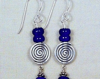 Lapis and Silver Hanging Earrings