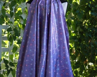 Purple Holographic Spandex 26 Inch Long Clip-On Super Hero Children's Cape