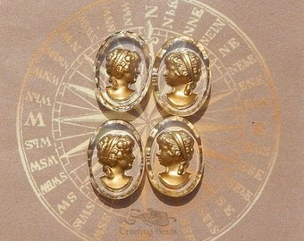 Vintage Glass Intaglio Cameos - 13x18 mm Crystal and Gold Reverse Painted Lady Cabochons (choose 2 pc or 4 pc)