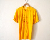 """70's """"Crawfish"""" Yellow Graphic T-Shirt"""