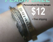 Flash Sale. Today only. FREE SHIPPING. Hand Stamped Cuff Bracelet. Silver Aluminum or Brass. Personalized