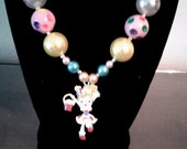 Girls Shopkin Necklace,Handcrafted,Rhinestone Shopgirl Pendant, Bubblegum Bead Necklace,Toddler Necklace, Chunky Bead Necklace, Shinny Beads