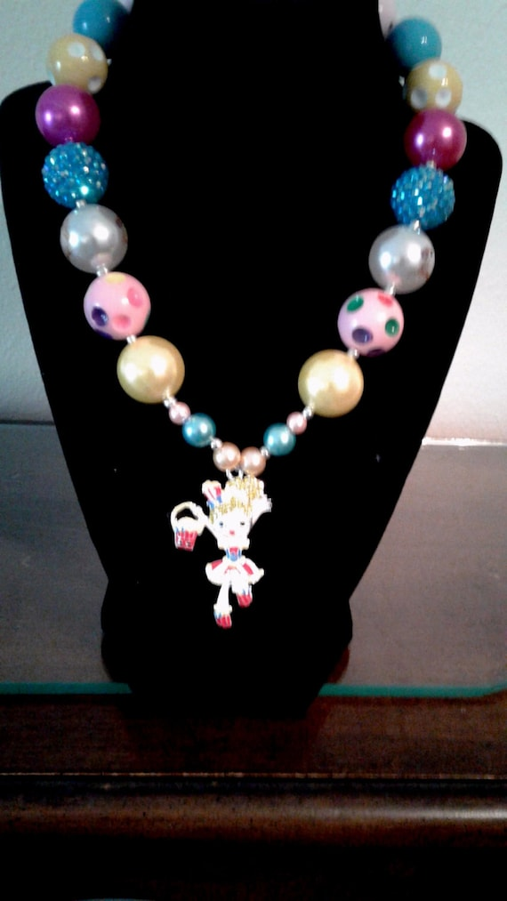 Girls Shopkin Necklace,Handcrafted,Rhinestone Shopgirl Pendant, Bubblegum Bead Necklace,Toddler Necklace, Chunky Bead Necklace, Shinny Beads