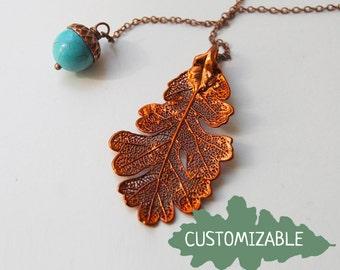 Autumn Oak Leaf and Acorn Lariat | Electroformed Oak Leaf Pendant | Acorn and Leaf Charm