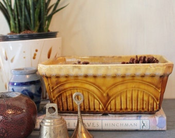 vintage pottery - California USA Pottery mustard ceramic planter