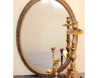 large wall mirror - gold oval framed mirror - ornate carved frame mirror