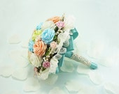 Marie Antoinette, Wedding Bouquet, Bridal Bouquet - Pastel Bouquet, Spring Alternative Wedding, Origami Roses Bridal Bouquet