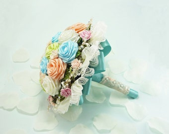 Marie Antoinette, Wedding Bouquet, Bridal Bouquet - Pastel Bridal Bouquet, Spring Alternative Wedding, Origami Roses Bridal Bouquet, Bespoke