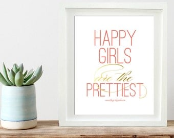 Audrey Hepburn Quote, Happy Printable poster, Inspirational Wall Print, Happy girls are the prettiest, INSTANT DOWNLOAD Printable 8x10