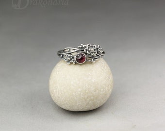 Twig ring - garnet in silver, sculpted flowers and twigs, limited collection