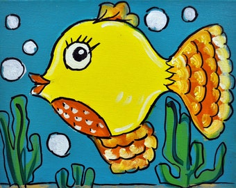 "Smooch- Original Fish Art for Kids of All Ages, 8"" x 10"""