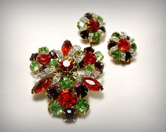 Vintage Rhinestone Ribbon Floral Cluster Brooch and Earrings Jewelry Set Pave Ice