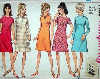 Misses' A-Line Dress, Simplicity 7199 Vintage 60's Sewing Pattern, Size 14, 34 Bust, Mod