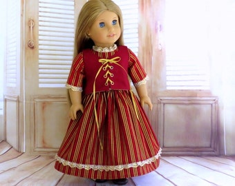 18 inch Doll Colonial Dress and Lace up Corset, Embroidered Corset, 18 inch Doll Clothes