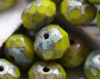 CHARTREUSE AVOCADO .. 10 Picasso Czech Glass Rondelle Beads  (3602-10)