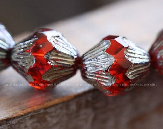 sale .. HYACINTH LOVE .. 6 Premium Picasso Czech Glass Baroque Bicone Beads 13x11mm (4049-6)