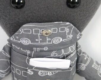 Knuffel met 'geheim' vakje voor het bewaren van een briefje / lappenpop / stoffen pop / knuffelbeest / knuffeldier / pop