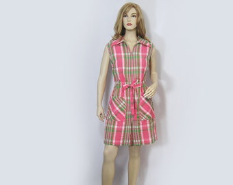 Vintage 70s Romper Swirl Pink Green Plaid Skort Jumpsuit Mod Park East Zip Up M