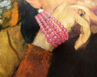 Bead Wrap Bracelet, Pink Vintage Occupied Japan Bead Bracelet, Glass Swirl Beads, Graduated Bracelet Pink Bead Jewelry Vintage Bracelet