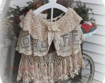 Victorian Cape Bridal Cape Mori Girl Cape Shabby Chic Ladies Fine Vintage Laces and Crochet