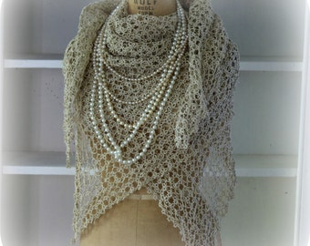 Tatted Lace Shawl Wrap Shawl Blanket Scarf Wedding Shawl Mother of Bride Shawl Evening Shawl Hard to Find Very Delicate
