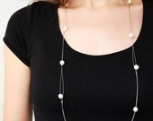 Pearl Long Necklace, Delicate necklace, Freshwater pearl, Strand necklace