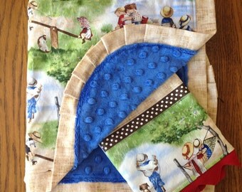 Retro Children Minky Blanket and Burp Cloth Set....personalization available
