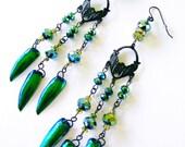 Green Jewel Beetle Elytra Wings Dangle Earrings Emerald Chandelier Victorian Gothic Curiosity Oddity TITANIA'S GARDEN by Spinning Castle