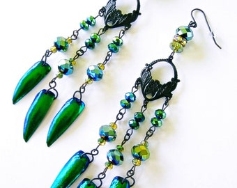 Green Jewel Beetle Elytra Wings Dangle Earrings Emerald Chandelier Victorian Gothic Curiosity Oddity TITANIA'S GARDEN by Spinning Castle