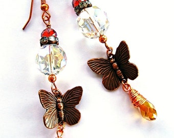 Copper Butterfly Charm Earrings Golden Metallic Iridescent Faceted Wire Wrapped Boho Gypsy Chic Dangles by Spinning Castle