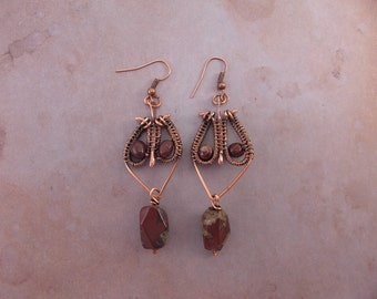 Copper wire wrap earrings with red Jasper.