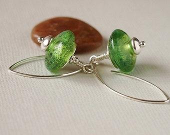 Soft Green Glass Bead Earrings, Lampwork Discs, Blue, Silvered Glass, Sterling Silver Earrings - HAZY MEADOW