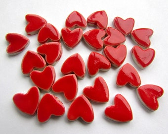 25 mosaic heart tiles, handmade red valentines, ceramic, heart shapes great for mosaics or cards.