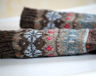 Fair Isle Fingerless Mitts, Ready to Ship, Arm Warmers, Brown, Beige, Sky Blue, Orange, Magenta, Ships Worldwide from the UK