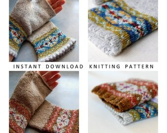 Knitting Pattern Fair Isle Fingerless Gloves PDF Instant Download