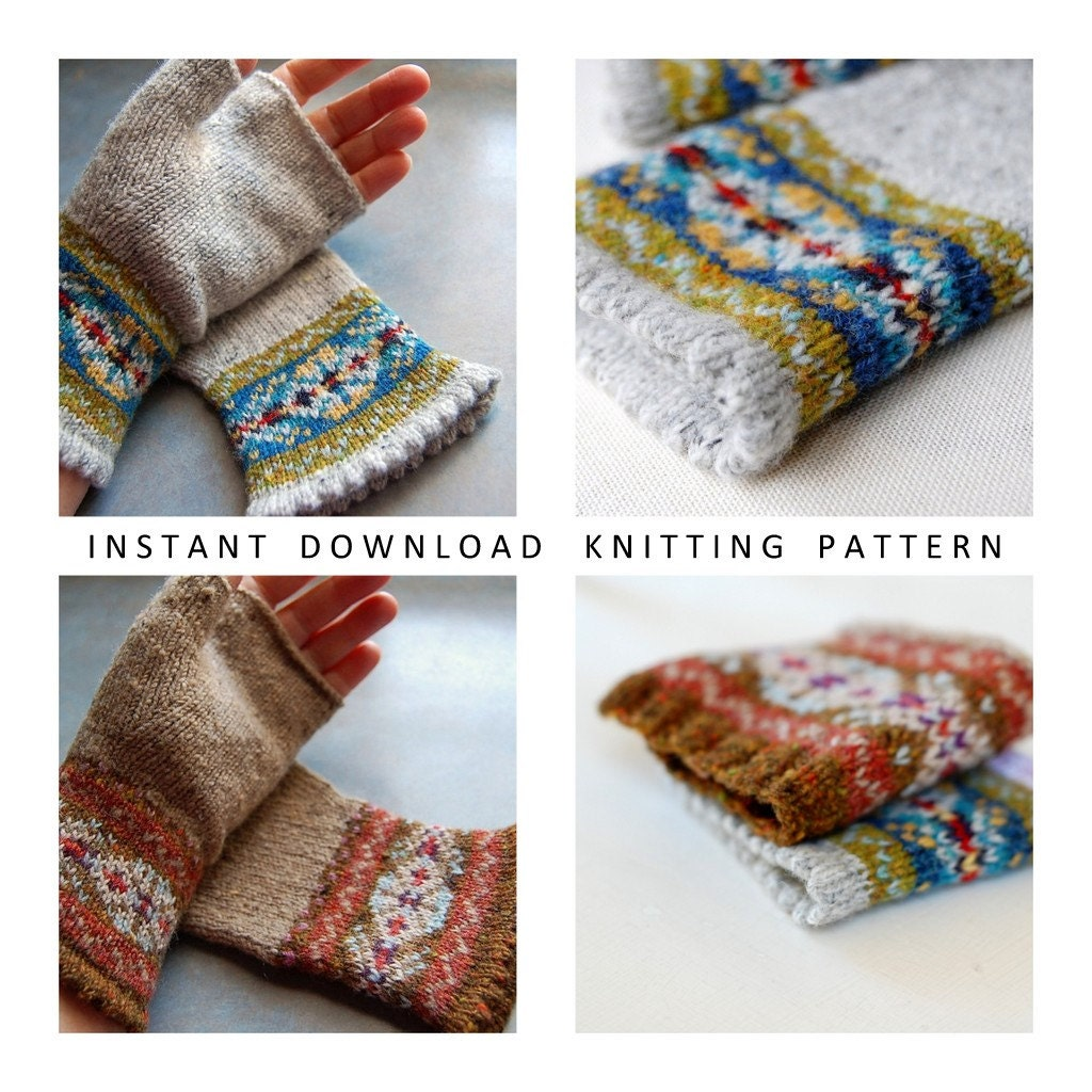 Knitting Pattern Fair Isle Fingerless Gloves PDF Instant