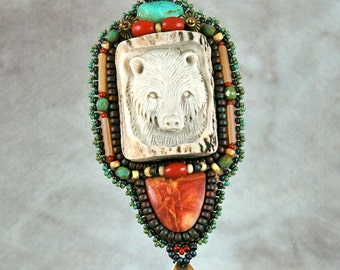 Necklace, Bead embroidery, beaded,bear, carved antler, jasper and turquoise,  bead embroidered necklace