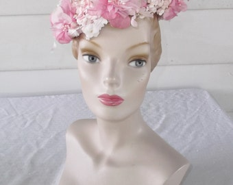 1960s Vintage Pink Flower Hat Union Made