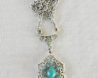 1970s Vintage Simulated Turquoise Filigree Necklace