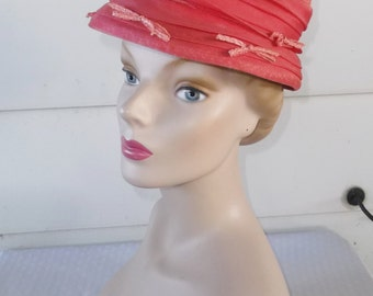 50s 60s Vintage Dark Pink Hat with Chiffon and Bows Adam, Meldrum & Anderson Co Buffalo Size 22