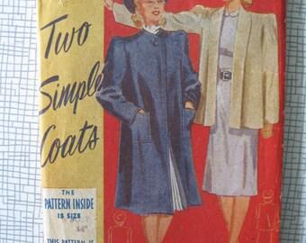 """1940s Coat - 34"""" Bust - Weldons So Easy 63 - Vintage Sewing Pattern"""