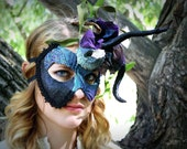 Ursula - Sea Witch Inspired Masquerade Ball Mask in Teal and Purple with Black Tentacles