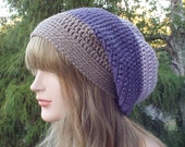 Shades of Purple Slouchy Beanie, Womens Crochet Hat, Slouch Beanie, Oversized Hipster Hat, Slouch Hat, Baggy Beanie, Boho Slouchy Hat