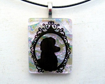 French Poodle | Fused Glass Dog Art | Victorian Cameo Style | Silhouette Necklace | Petal Pink Pendant | Simple Jewelry Gift Idea