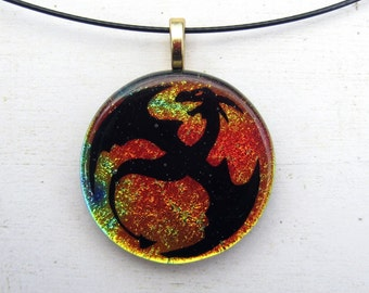 Dragon Necklace Dichroic Fused Glass Jewerly Fantasy Pendant