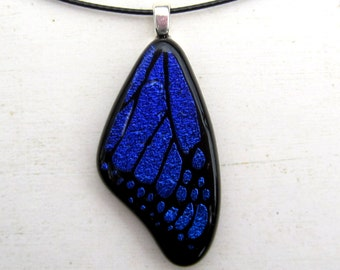 Butterfly Wing Fused Glass Necklace Pendant Blue Purple Medium Necklace Exclusive Design