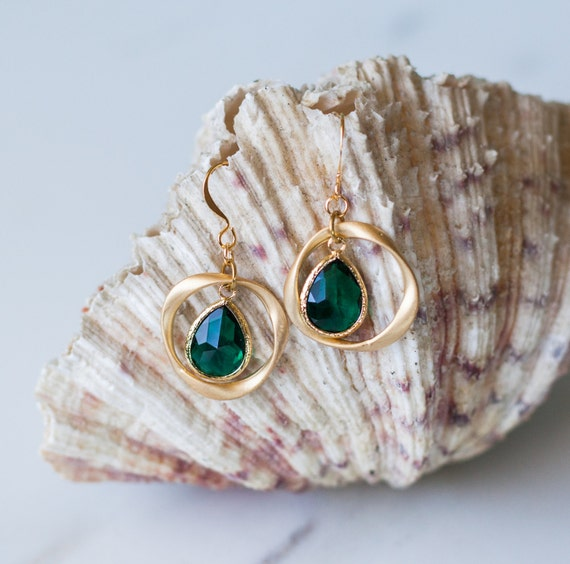 Teardrop, emerald, glass, ring gold earrings, wedding, twisted ring, drop, simple, gift for her, handmade, bridal, ocean