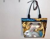 Jasmine Becket-Griffith Alice White Rabbit tote bag, Steampunk Wonderland, book tote, large purse, canvas tote, shoulder bag