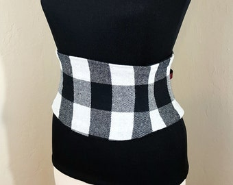 Black and White Plaid Check Corset Belt Waist Cincher Any Size