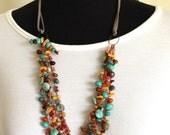 handmade beaded necklace crochet necklace colorful multi strand boho leather cord southwestern necklace beaded multi strand statement